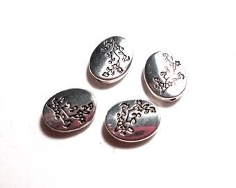 4 Oval Flat Tree Branch 12x10mm Beads,  Silver Cherry Tree Branch Beads, Silver Nature Beads, Flat Oval Beads, Branch Beads CB0012