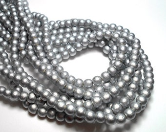 6mm Round Silver Wood Beads, Round Wood Beads, Silver Beads, Dyed Wood Beads, Wooden Beads, Wood Beads for Jewelry D-M05S