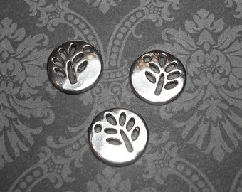 3 Tree Charms 12mm, Platinum Silver Carved Tree Charm, Tree Charm, Tree Charms, Tree Pendants, Nature Charms, Tree Pendant SC0046