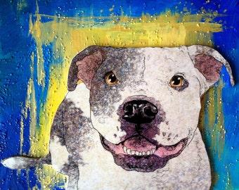 Handmade Original Painting: My Pitbull