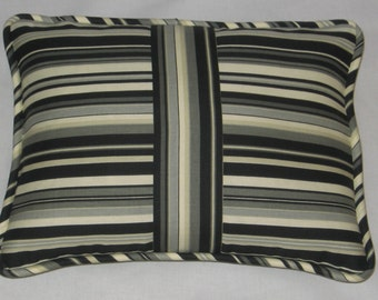 Black, Gray, White Stripe Pillow Cover. Bold. Modern Look. Accent Pillow. Decorator Pillow. Home Decor. Handmade. Cording and zipper closure