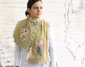 Striped Mustard Scarf Appliqued Ruffled Luxurious Accessory