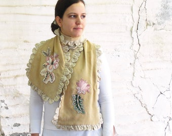 Striped Mustard Scarf, Mori Girl, Appliqued Ruffled Luxurious Accessory