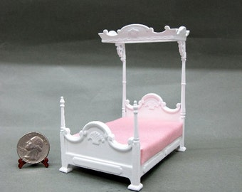 Half Scale Wood Carved White Bed