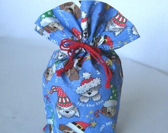 """8.5"""" x 13.5"""" - Christmas Gift Bag - Reusable Gift Bag - Dog Lover Gift Bag - Children Chrismas Gift Bag - Eco Friendly Fabric Gift Wrap"""