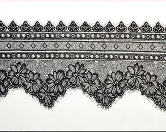 "3 Yards white Chantilly Eyelash Lace ,Exquisite Wide Black Chantilly Eyelash Lace Trim Width 23CM Sell By Yard-9""*115"""