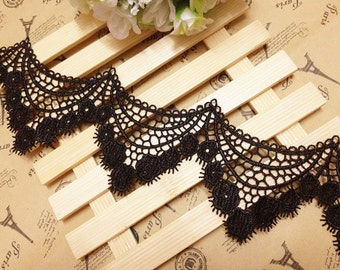 Black Lace Trim sell by yard , Black Aulic Features Lace Trim