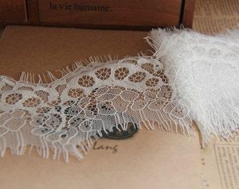 """3Yard-2.3""""*115"""" Ivory Lace Trim, Bridal Lace, Wedding Gown Lace, Alencon Lace, White Lace Trim"""