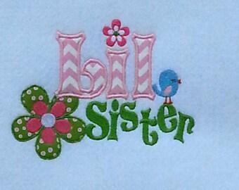 Little Sister Embroidery Design, Little Sister Applique, Machine Embroidery, Machine Applique