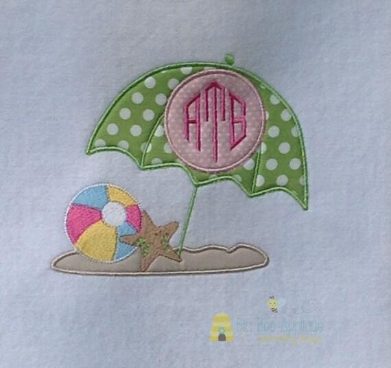 Items similar to beach umbrella applique embroidery design
