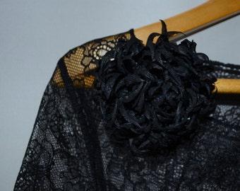 black brooch silk hairpin chrysanthemum flower silk. Ready to ship. брошь-заколка натуральный шёлк хризантемма