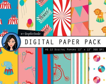 "Circus Digital Paper:""COLORFUL CIRCUS"" Circus Party - Circus Theme - Circus Paper Pack with Circus Scrapbook Paper for Instsnt Download"