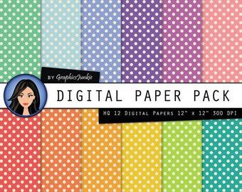 Polkadot Digital Paper - Polkadots Scrapbook Paper - Polka Dot Wallpaper - Colorful Polka Dot Paper for Scrapbooking, Invites & Card Making