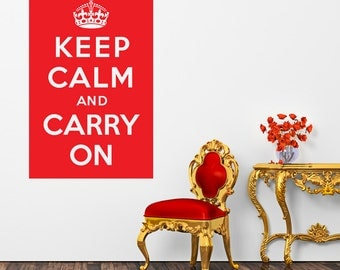 Keep Calm And Carry On Wall Sticker Crown Decal Vinyl Transfer Retro Home Bedroom Bathroom Lounge British Wartime Quote Art Decoration