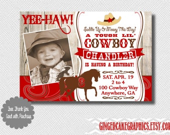 Cowboy Birthday Invitation - Horse Invitation - Western - Invite - Boy - Red