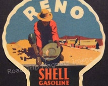 Shell Gasoline 1920s Travel Decal Magnet for RENO. Accurately Reproduced & hand cut in shape as designed. Nice Travel Decal Art