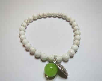Green Apple Howlite and Jade Bracelet