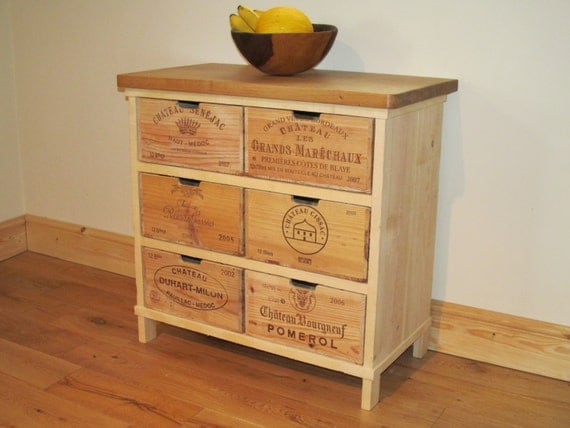 Oak storage chest of drawers cabinet made with rustic wine What to do with wine crates