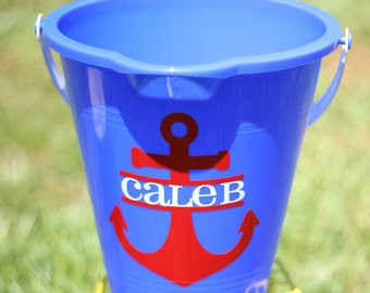 Personalized Anchor Sand Pail, Monogrammed Sand Pail, Beach Pail, Personalized Sand Bucket, Monogrammed Anchor, Birthday Present Party Favor