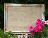 Antique Intricate Silver Gold Framed Burlap Corkboard Cork Board Lace Fabric Seating Chart Escort Cards Wedding Decor