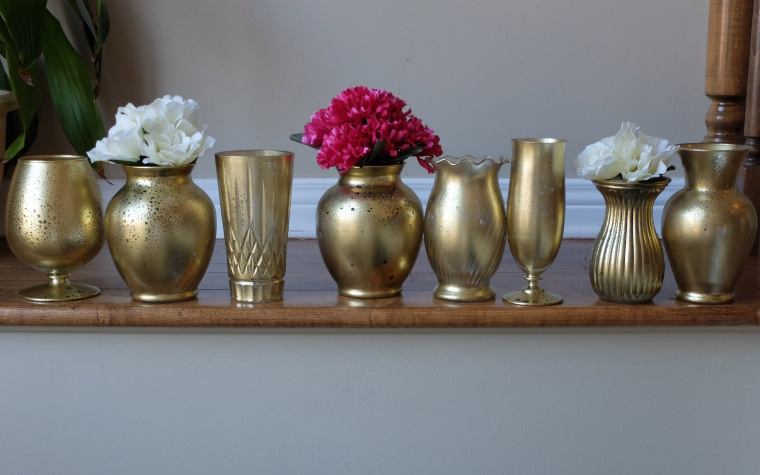 Custom set distressed metallic gold vase centerpieces wedding