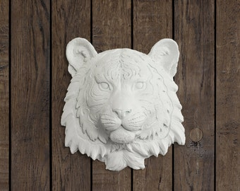 The Mini Siberian in White - Faux Tiger Head Fauxidermy Ceramic Animal Fake Taxidermy Resin Plastic Replica Decorative Mounted Wall Art