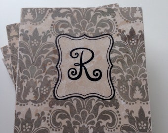 Damask Pattern Coasters, Bridesmaid Coasters, Monogram Wedding Gift, Custom Hostess Gift, Gift for Couple, Bridal Shower Gift