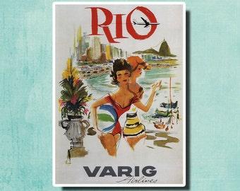 Rio, Varig Airlines - 1960 - Vintage Airline Poster Brazil SG4569