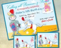 Little Prince Invitation , Royal, Horse, Castle, Printable Birthday Party Invitations Theme, Digital Printable Address Labels Thanks.