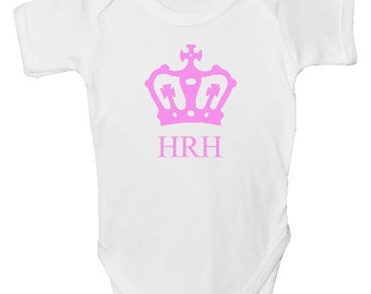Funny Baby Grow - 'HRH Baby' with FREE P&P  Made from 100% Soft Natural Cotton.