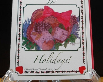 Happy Holidays! - Individual or packaged Christmas Cards - Christmas Art - Handmade Card