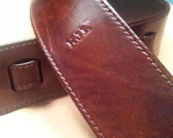 LEATHER GUITAR STRAP Handmade Custom - 'Understated Elegance' -fully lined-You choose colour-personalize with name/initials-clbLeatherDesign
