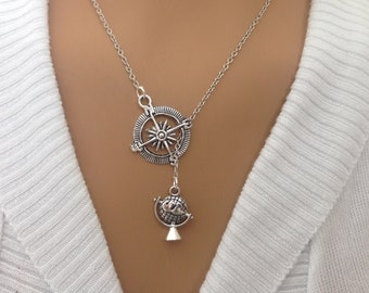 Antique Silver lariat Compass and Globe necklace