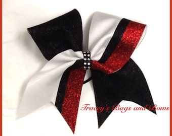 Cheer Bow~Red, Black and White~Softball Bow