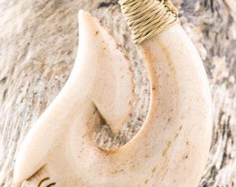 Antiqued Bone Maori Hei Matau Fish Hook Necklace