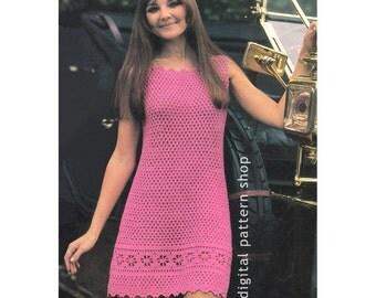 Crochet Dress Pattern Vintage 1960s Flower Hem Mini Dress Crochet Pattern PDF Instant Download | Womens Bust 34 36 38 - C43