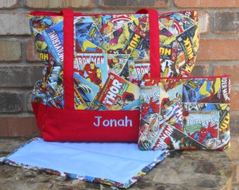 Marvel Superhero Avengers Comic Book Personalized Red and Blue Baby Diaper Bag Set With Matching Clutch and Changing Pad