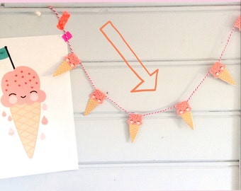 Paper garland ice cream flags DIY digital Download