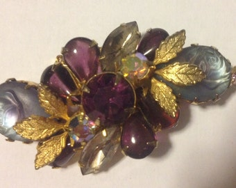 Vintage Brooch purple lilac gold roses 1960's