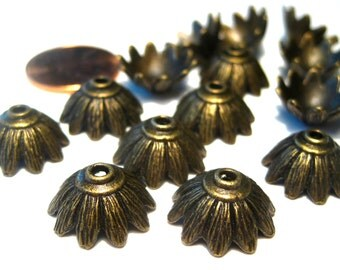 20pcs Antique Bronze Bead Caps 15x7mm