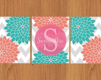 Coral Teal Pink Nursery Floral Flower Burst Wall Art Nursery Girl's Room Décor Personalized with First Name Set of Three 8x10 Prints (127)