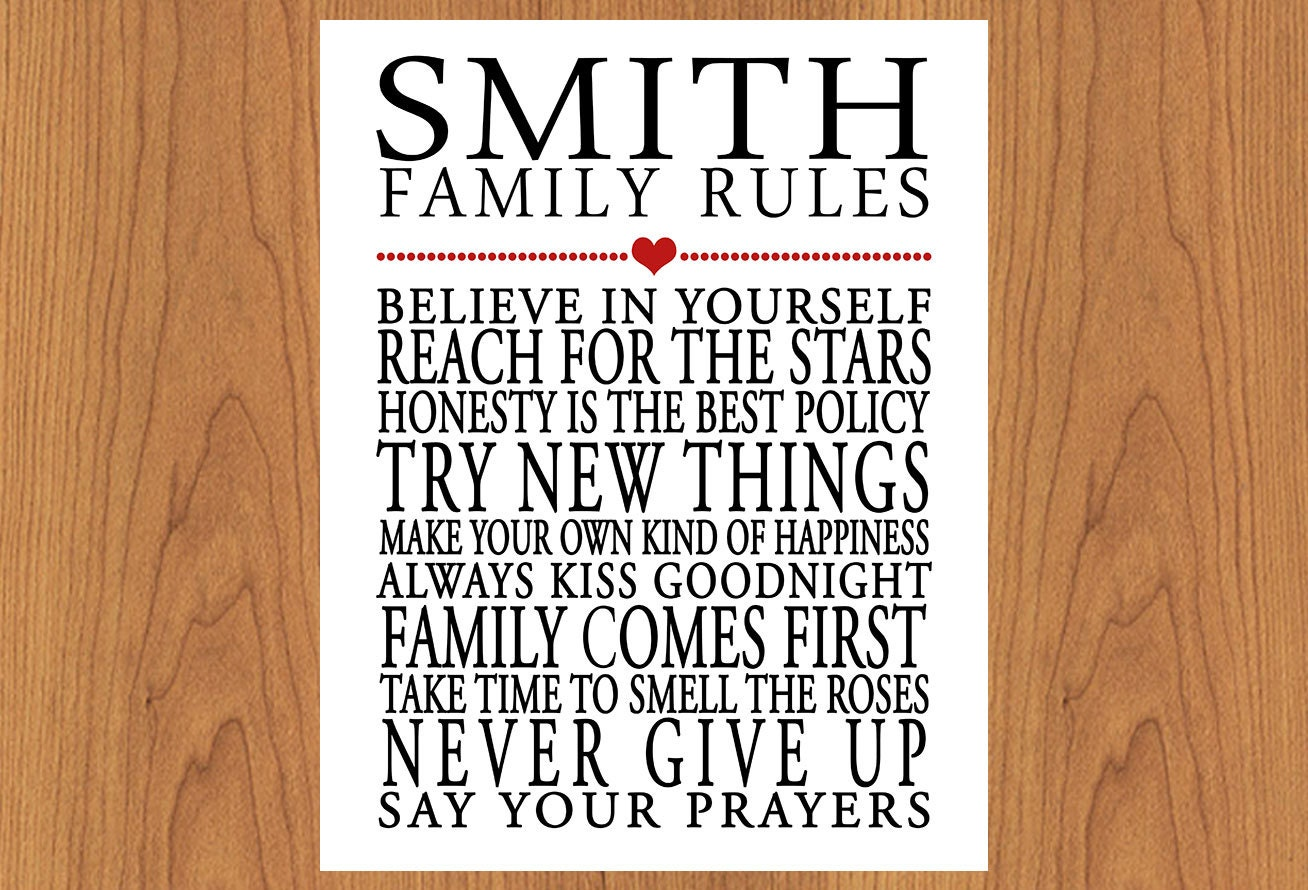 Personalized Family Rules Wall Art Sign By