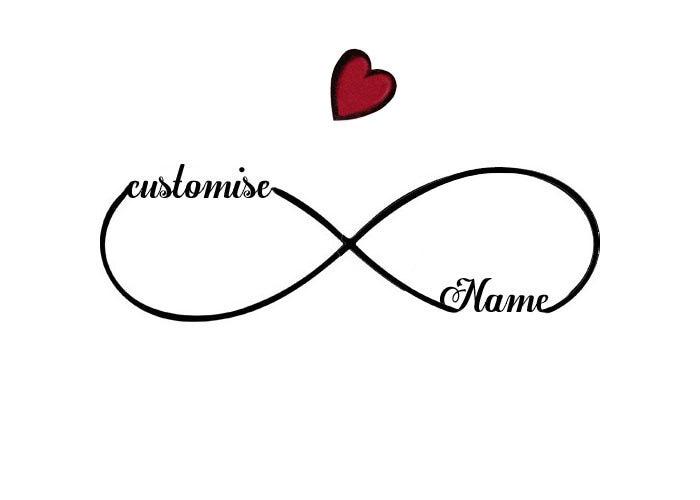 Customised Names Infinity Symbol Temporary Tattoo Never