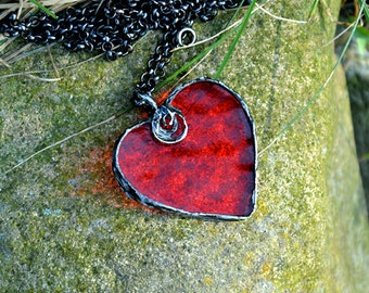 Romantic necklace, FIERY RED, love jewelry, statement necklace, red necklace pendant, fall necklace, long necklace, heart jewelry