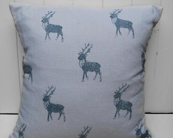 Stag Cushion Cover, Hand printed, Grey linen