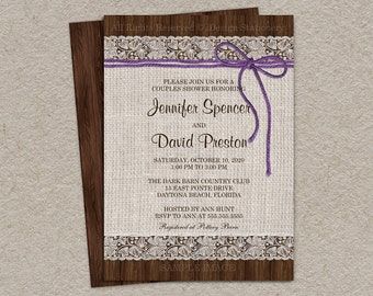 Purple Rustic Wedding Shower Invitation With Burlap And Lace, DIY Printable Rustic Couples Shower Invitation, Rustic Burlap & Lace Invites