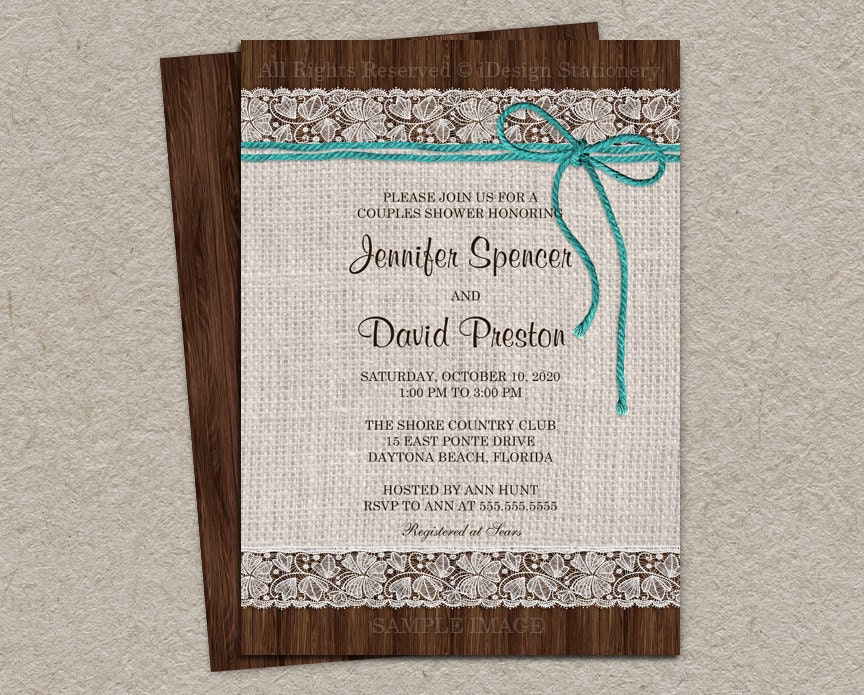 Wedding Shower Invitations For Couples: Rustic Couples Shower Invitation Printable Rustic Wedding