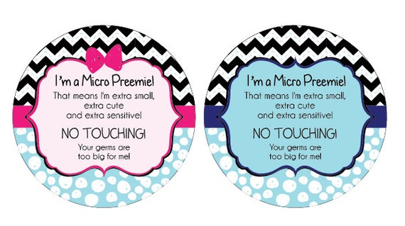 Micro Preemie,, baby car seat tag, baby shower gift, stroller tag, baby Preemie no touching car seat sign