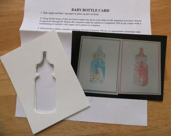 Baby Bottle Iris Folding Kit  Includes Pattern and 6 card fronts