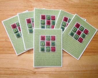 Christmas Card Set - Xmas Card Set - Holiday Card Set - Homemade Christmas Card - Handmade Xmas Card Set - Christmas Greeting - Set of (6)